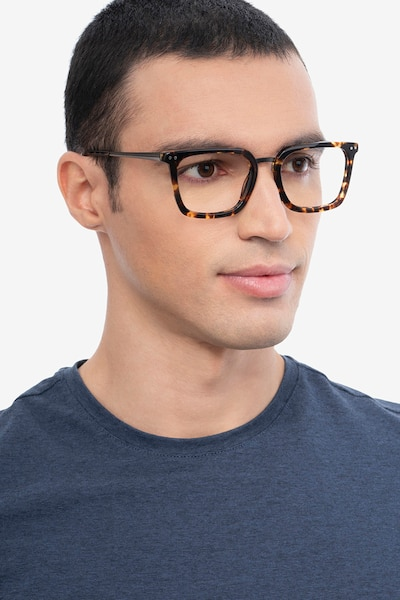 Poise Tortoise Acetate-metal Eyeglass Frames for Men from EyeBuyDirect, Front View