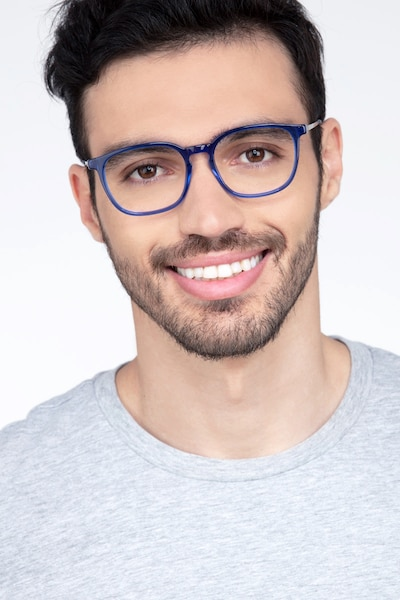 Esquire Blue Metal Eyeglass Frames for Men from EyeBuyDirect, Front View