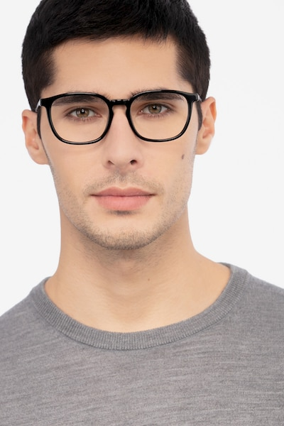 Esquire Black Acetate Eyeglass Frames for Men from EyeBuyDirect, Front View