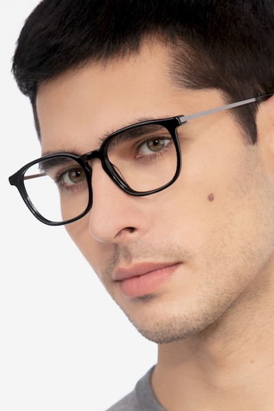 Esquire Black Metal Eyeglass Frames for Men from EyeBuyDirect