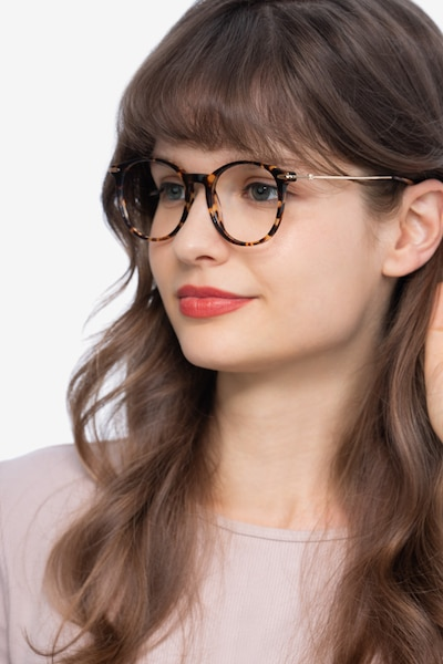 Quill Tortoise Acetate-metal Eyeglass Frames for Women from EyeBuyDirect, Front View