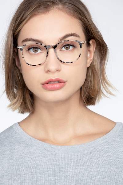 Quill Ivory Tortoise Metal Eyeglass Frames for Women from EyeBuyDirect, Front View