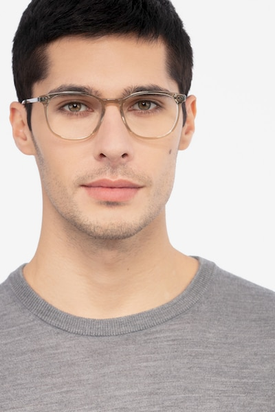 Savvy Clear Gray Metal Eyeglass Frames for Men from EyeBuyDirect, Front View