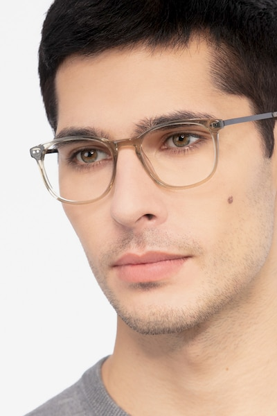 Savvy Clear Gray Metal Eyeglass Frames for Men from EyeBuyDirect