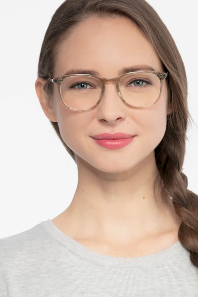 Savvy Clear Gray Metal Eyeglass Frames for Women from EyeBuyDirect, Front View