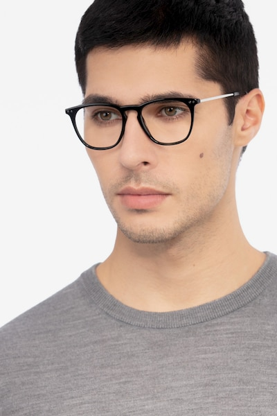 Distance Black Acetate Eyeglass Frames for Men from EyeBuyDirect, Front View