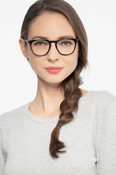 Distance Black Acetate Eyeglass Frames for Women from EyeBuyDirect, Front View
