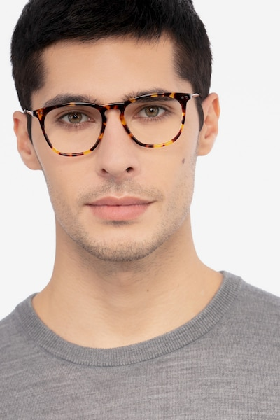 Distance Tortoise Metal Eyeglass Frames for Men from EyeBuyDirect, Front View