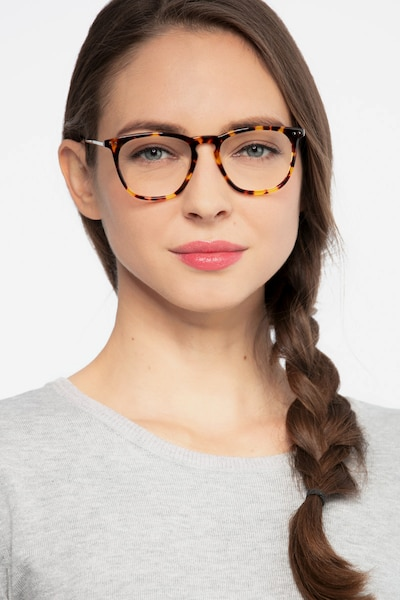 Distance Tortoise Metal Eyeglass Frames for Women from EyeBuyDirect, Front View