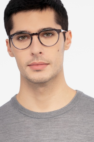 Traveller Gray Acetate Eyeglass Frames for Men from EyeBuyDirect, Front View