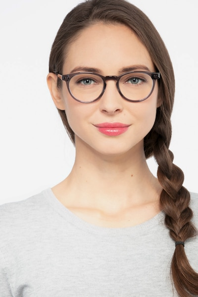Traveller Gray Acetate Eyeglass Frames for Women from EyeBuyDirect, Front View