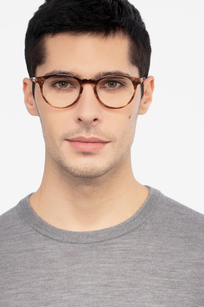 Traveller Brown Striped Acetate Eyeglass Frames for Men from EyeBuyDirect, Front View