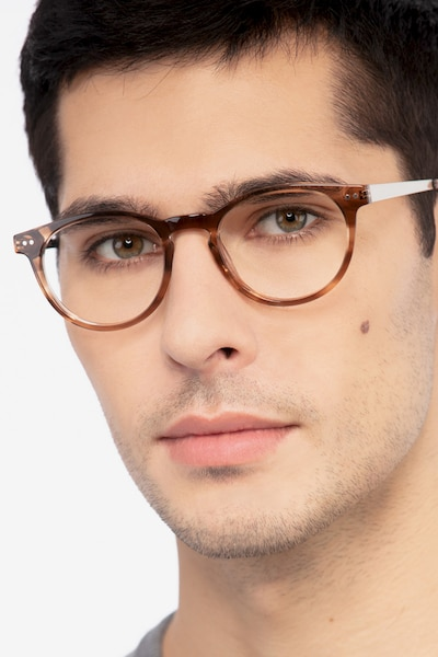 Traveller Brown Striped Acetate Eyeglass Frames for Men from EyeBuyDirect