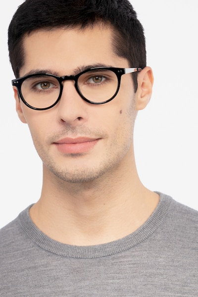 Traveller Black Acetate Eyeglass Frames for Men from EyeBuyDirect, Front View