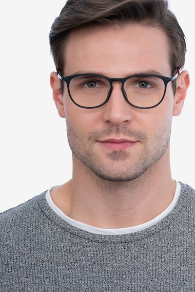 Today Black Metal Eyeglass Frames for Men from EyeBuyDirect, Front View