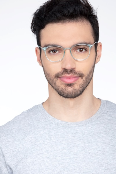 Spoken Clear Blue Metal Eyeglass Frames for Men from EyeBuyDirect, Front View