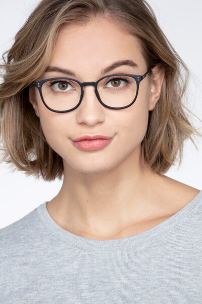 Spoken Black Metal Eyeglass Frames for Women from EyeBuyDirect, Front View