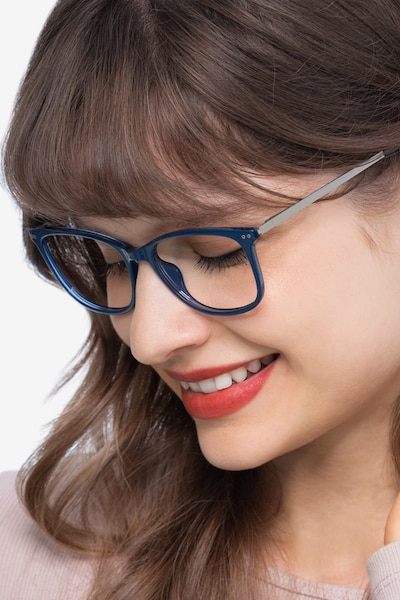 Clarity Blue Metal Eyeglass Frames for Women from EyeBuyDirect