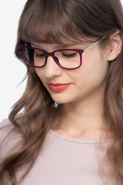 Clarity Purple Metal Eyeglass Frames for Women from EyeBuyDirect, Front View