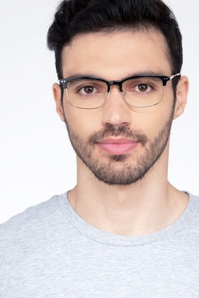 Explorer Black Acetate-metal Eyeglass Frames for Men from EyeBuyDirect, Front View