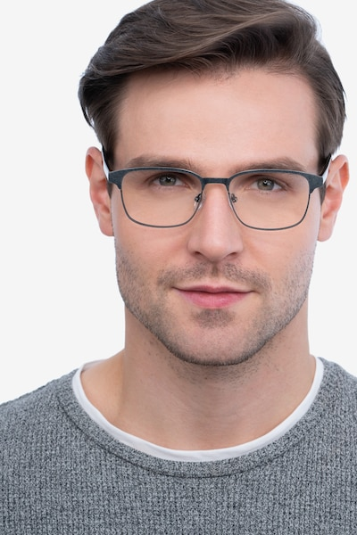 Meta Gunmetal Metal Eyeglass Frames for Men from EyeBuyDirect, Front View
