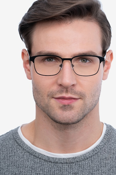 Meta Black Metal Eyeglass Frames for Men from EyeBuyDirect, Front View