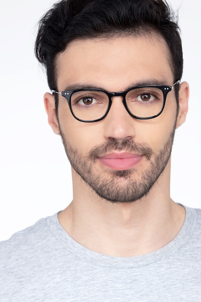Candor Black Metal Eyeglass Frames for Men from EyeBuyDirect, Front View