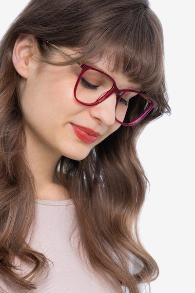 Aroma Raspberry Metal Eyeglass Frames for Women from EyeBuyDirect, Front View