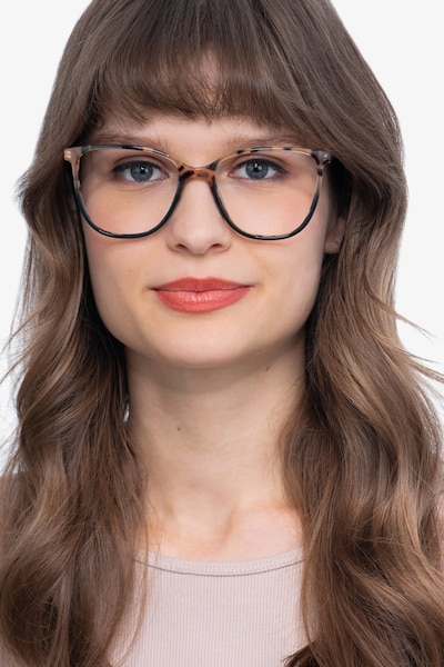 Aroma Tortoise Green Acetate-metal Eyeglass Frames for Women from EyeBuyDirect, Front View