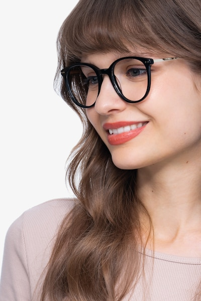 Oriana Black Metal Eyeglass Frames for Women from EyeBuyDirect, Front View