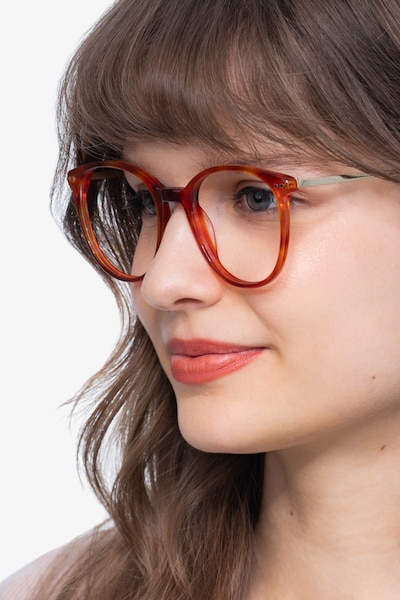 Oriana Orange Acetate-metal Eyeglass Frames for Women from EyeBuyDirect