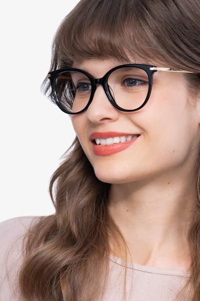 Attitude Black Acetate Eyeglass Frames for Women from EyeBuyDirect
