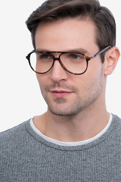 Viento Warm Tortoise Metal Eyeglass Frames for Men from EyeBuyDirect, Front View