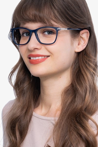 Field Navy Metal Eyeglass Frames for Women from EyeBuyDirect, Front View