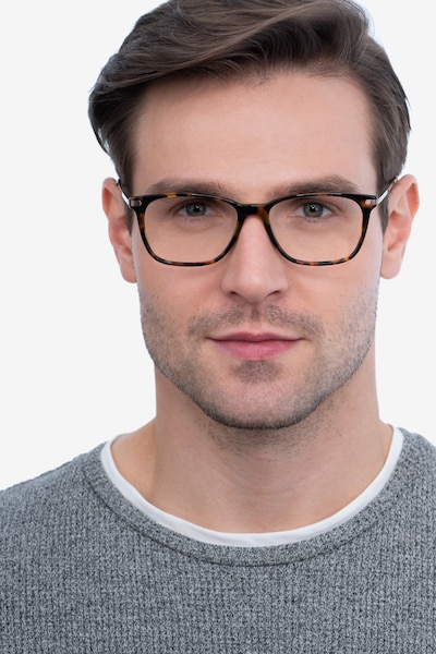 Plaza Tortoise Metal Eyeglass Frames for Men from EyeBuyDirect, Front View