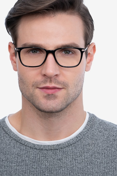 Plaza Black Acetate Eyeglass Frames for Men from EyeBuyDirect, Front View