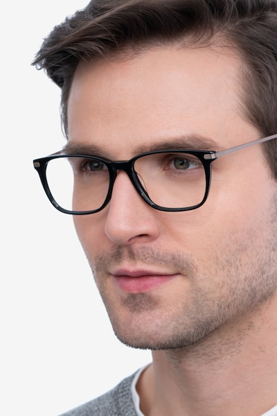 Plaza Black Acetate Eyeglass Frames for Men from EyeBuyDirect
