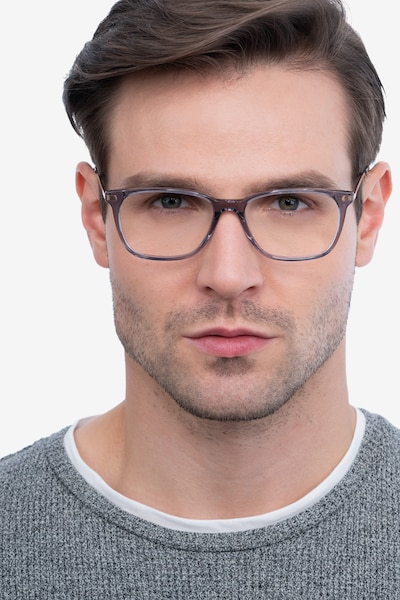 Plaza Gray Metal Eyeglass Frames for Men from EyeBuyDirect, Front View