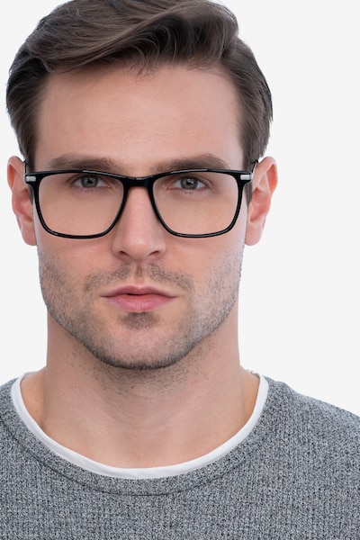 Envision Black Acetate Eyeglass Frames for Men from EyeBuyDirect, Front View