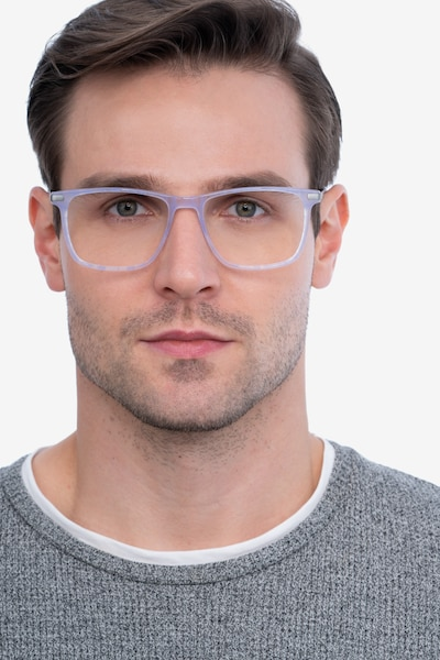 Envision Purple Acetate Eyeglass Frames for Men from EyeBuyDirect, Front View