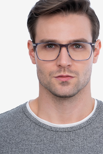 Envision Gray Metal Eyeglass Frames for Men from EyeBuyDirect, Front View