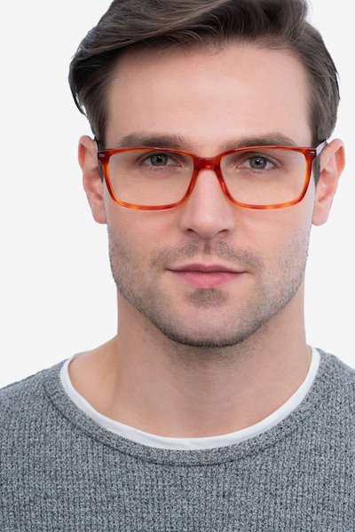 Hayday Blood Orange Acetate Eyeglass Frames for Men from EyeBuyDirect, Front View