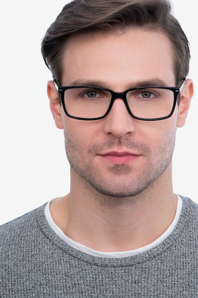 Hayday Black Metal Eyeglass Frames for Men from EyeBuyDirect, Front View