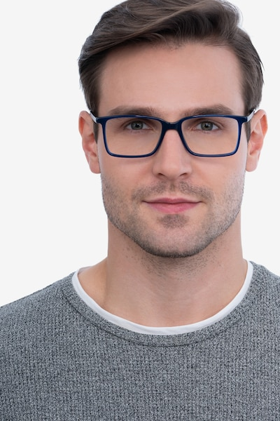 Haptic Blue Acetate Eyeglass Frames for Men from EyeBuyDirect, Front View