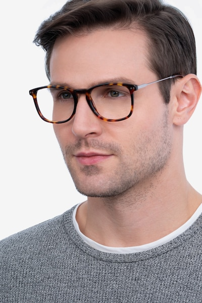 Ratio Tortoise Metal Eyeglass Frames for Men from EyeBuyDirect, Front View