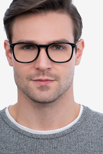 Ratio Black Acetate-metal Eyeglass Frames for Men from EyeBuyDirect, Front View