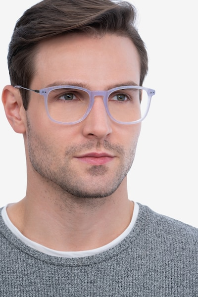 Ratio Purple Striped Metal Eyeglass Frames for Men from EyeBuyDirect, Front View