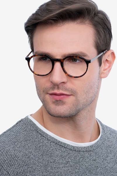 The Cycle Dark Tortoise Metal Eyeglass Frames for Men from EyeBuyDirect, Front View