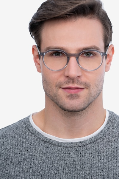 The Cycle Gray Metal Eyeglass Frames for Men from EyeBuyDirect, Front View