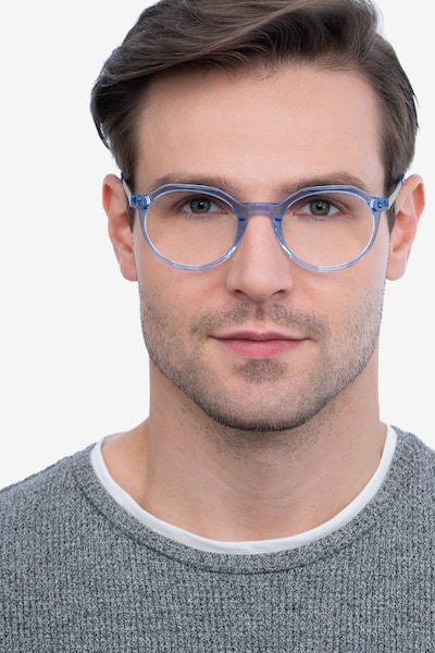 The Cycle Blue Acetate-metal Eyeglass Frames for Men from EyeBuyDirect, Front View